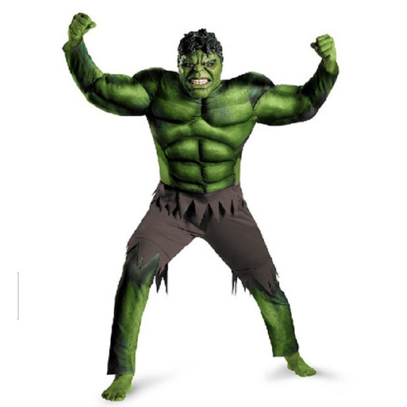 adult men's costumes halloween Muscle Superheroes Avengers hulk adult costume adulto Green Hulk cosplay carnival party clothes