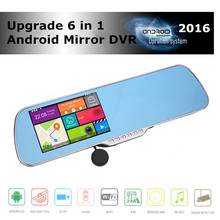 Cheaper 5.0 inch android touch rearview mirror car camera wifi gps navigator full hd 1080p car dvr dual lens parking video recorder