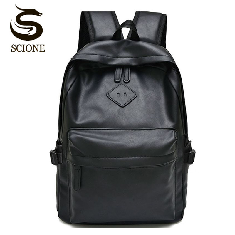 Scione Black Leather School Backpack High Quality Women Laptop Back Pack Men's Business Backpack Pu Rucksack Travel Shoulder Bag