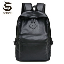Scione Black Leather School Backpack High Quality Women Laptop Back Pack font b Men s b