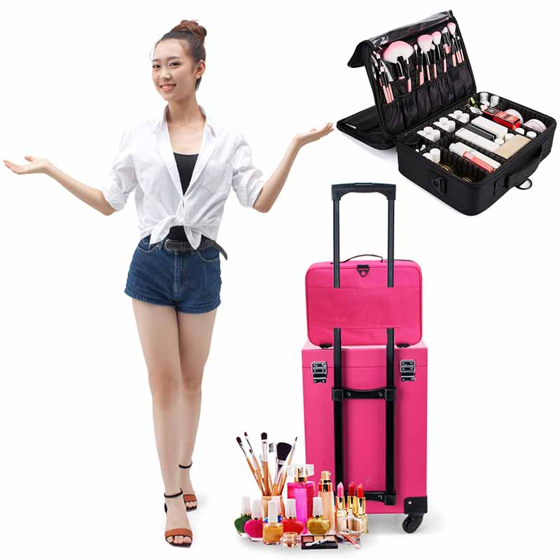 Luggage & Bags ... Special Purpose Bags ... 32791583092 ... 4 ... LHLYSGS Brand Cosmetic Case Suitcases Multi-storey Large Professional Makeup Bag Women Beauty Storage Organizer Cosmetic Bag ...