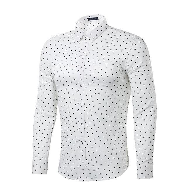 9d9467f268 Polka Dot branco Camisa Dos Homens 100% Algodão de Manga Longa Mens Camisas  de vestido