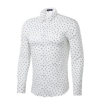 White Polka Dot Shirt Men 100% Cotton Long Sleeve Mens Dress Shirts Casual Slim Fit Chemise Homme Camisa Masculina Male Shirt jung kook bts persona
