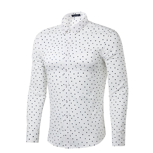 f65d9a26369 White Polka Dot Shirt Men 100% Cotton Long Sleeve Mens Dress Shirts Casual  Slim Fit