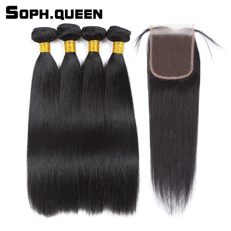 Soph királynő haj egyenes hullám csomók bezárása brazil - Emberi haj (fekete)