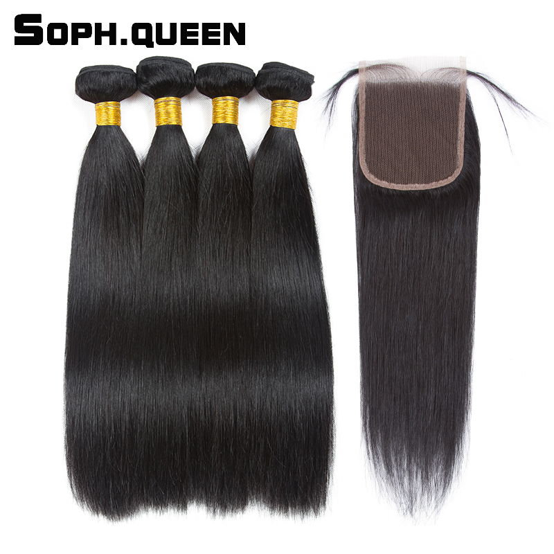 Soph queen Hair Straight Wave Bundles With Closure Brazilian Natural Black Remy Hair Extension Pelo Human Hair
