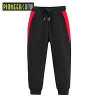 Pioneer camp new kids winter fleece sweatpants boys fashion patchwork trousers for boys winter warm pants kids black BZZ810124