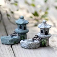 1 piezas Vintage Artificial piscina Torre miniatura Casa de jardín de hadas, decoración del hogar Mini artesanal Micro jardinería Decoración