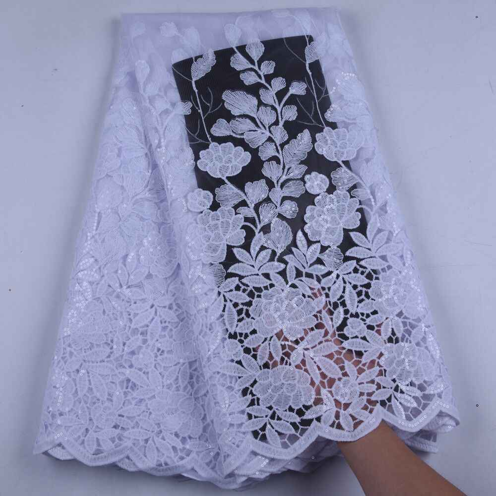 Pure White African Net Milk Silk Lace Sequins Embroiderd High Quality French Lace Fabric Nigerian Lace Fabric For Wedding A1625