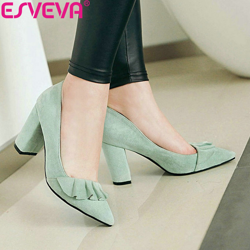 ESVEVA 2020 Women Pumps Shoes Sweet Style Women Shoes Pumps Fashion Square High Heels Size 34-43 Shallow Slip On Pointed Toe