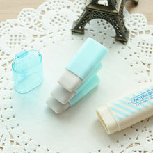 Cute Kawaii Heart Flower Rubber Erasers Lovely Stripe Pencil Eraser For Kids Gift Korean Stationery Free Shipping 2257