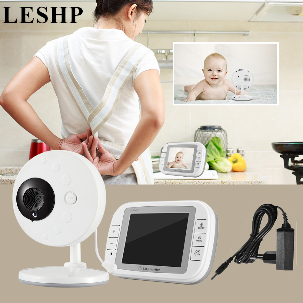 LESHP Baby Monitor with 3.5 Inch Wireless TFT LCD Video Night Vision 2-way Audio Infant Baby Camera Digital Video Babysitter 7 inch video doorbell tft lcd hd screen wired video doorphone for villa one monitor with one metal outdoor unit night vision
