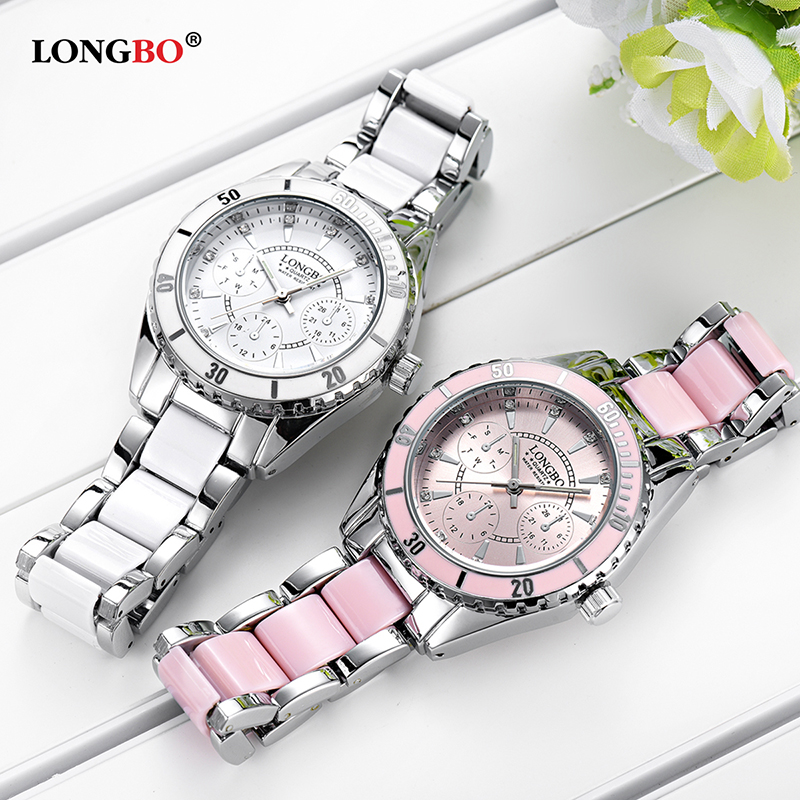 цена Brand Fashion Watch Women Lovely Pink Luxury Ceramic Bracelet Analog Ladies Wrist Watches Relogio Feminino Montre Clock Girls