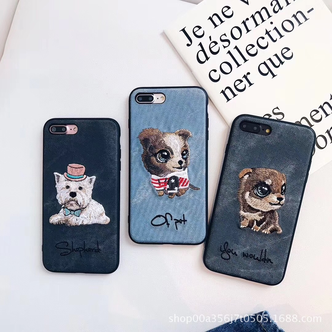 Favourite Embroidery Originality Cute Puppy Cowboy Pattern Case For Iphone X 6 6s 7 8 Plus10 Soft TPU Back Lovely Dog Cover