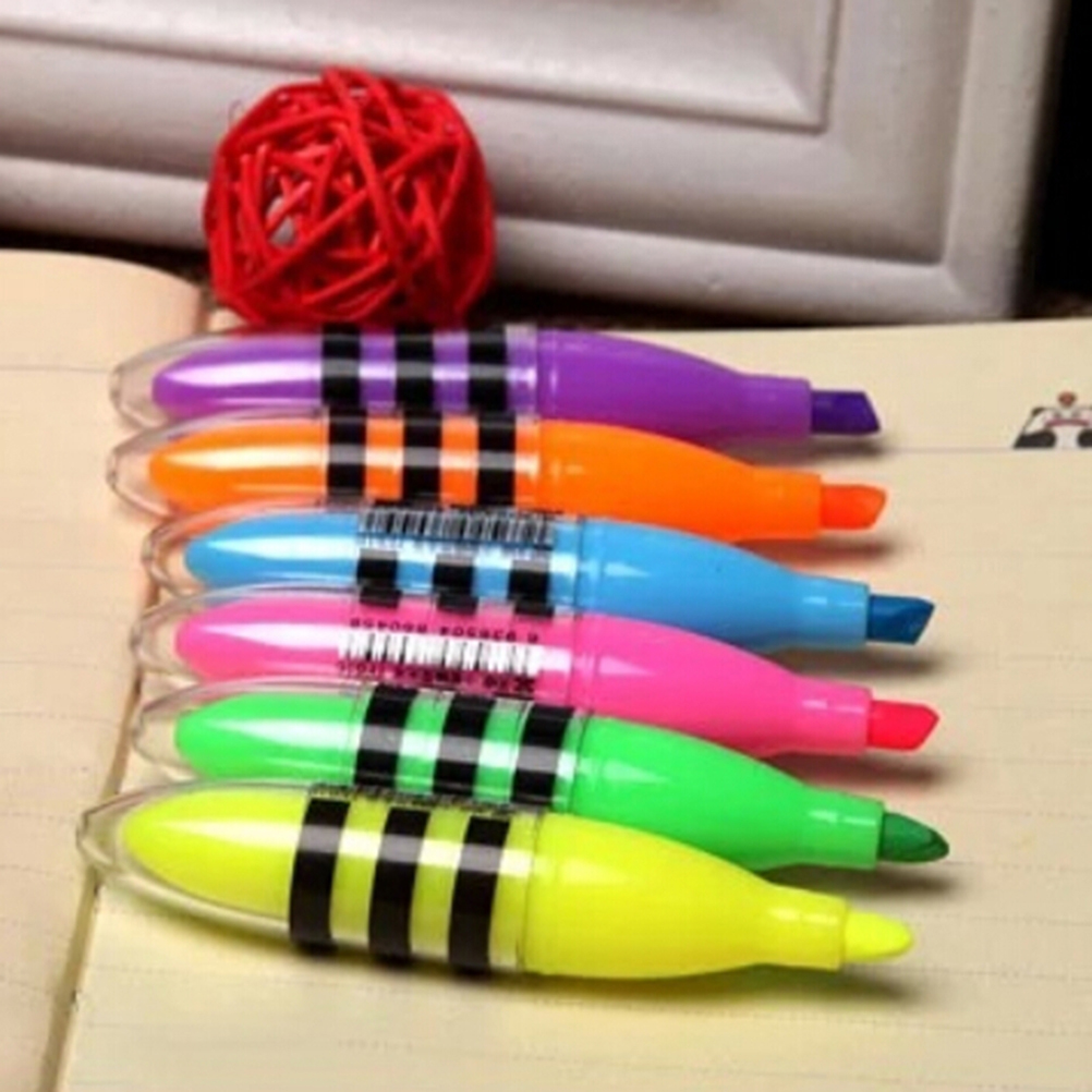 Kawaii Cute Bee Highlighter Pen Mini Marker Pens Stationery Material School Supplies Students Birthday Gifts Highlighters