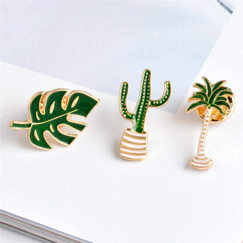 1PC Palm Cactus Leaves Plant Tree Natural Lapel Pin Enamel Brooch Collar Pins 2018 New Cactus