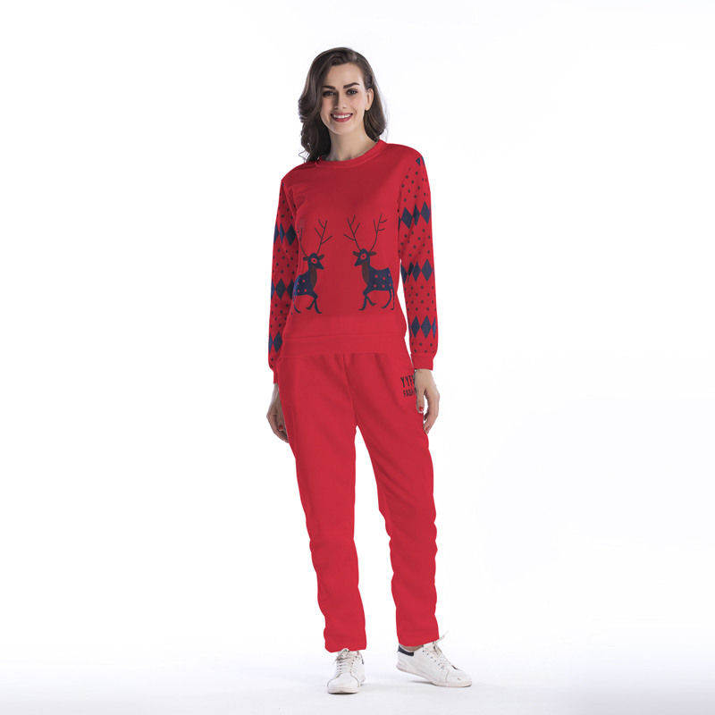 Christmas 2018 round neck women's pants suit elk printing casual and comfortable Spring and autumn women's suit