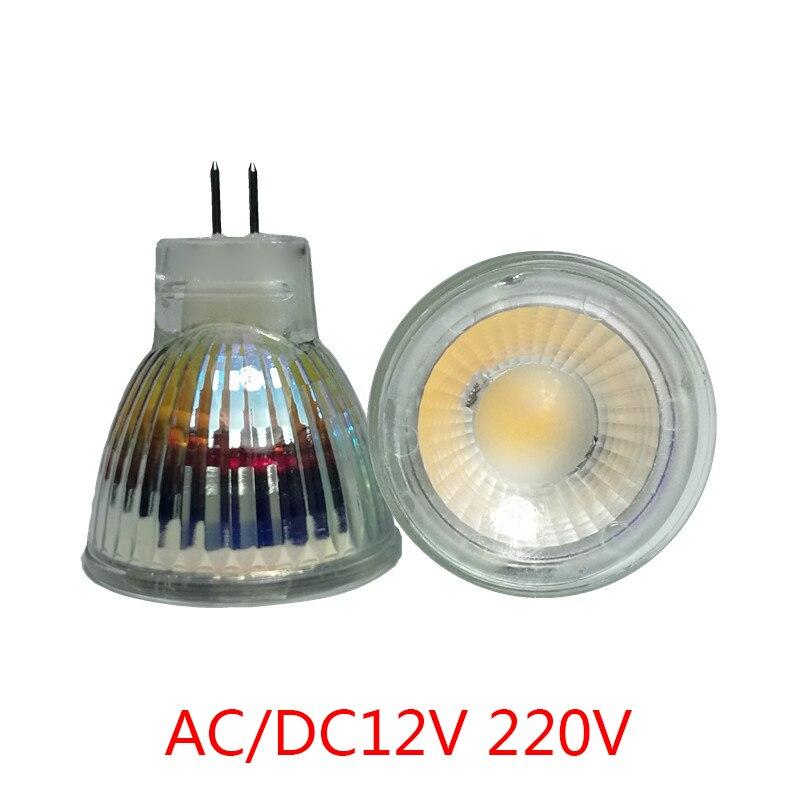New Arrival MR11 COB Led Spotlight Glass Body GU4 Lamp Light AC/DC12V 220V MR11 7W Dimmable LED Bulb Warm White/Cool White lamp