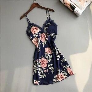 Image 5 - Zwei Stück frauen Pyjamas Silk Kleid Und Robe Kleid Set Floral Bademantel Dessous Femme Sexy Nachthemd Kimono Nachtwäsche Hause anzug
