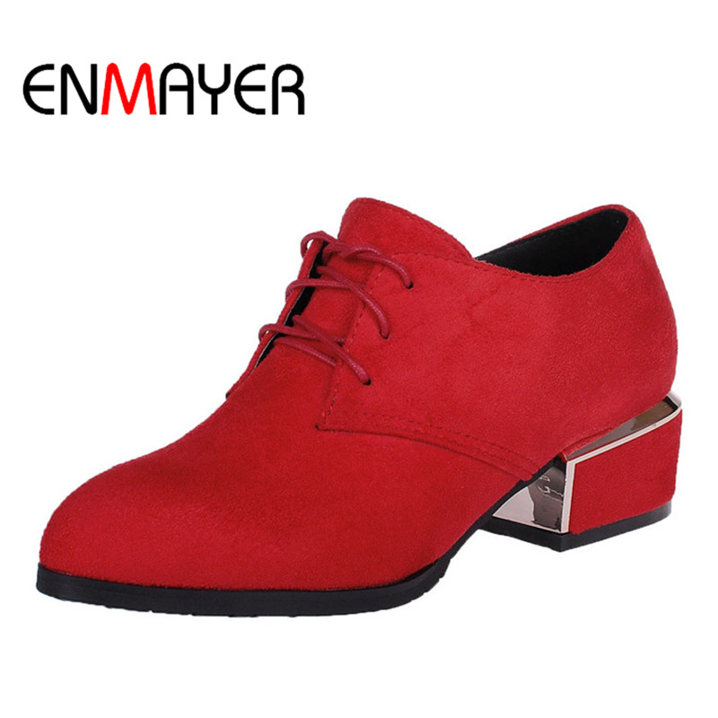 ENMYAYER Spring Autumn Flock Shoes Women Med Heel Lace up Concise Woman Pumps Pointed Toe Office