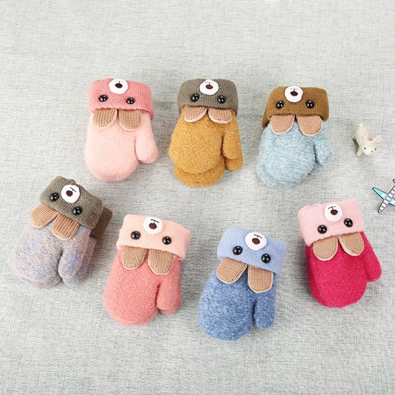 New 0-3 Years Old Cute Bear Cartoon Baby Gloves Winter Knit Wool Newborn Mittens Velvet Thick Children's Kids Keep Finger Warm