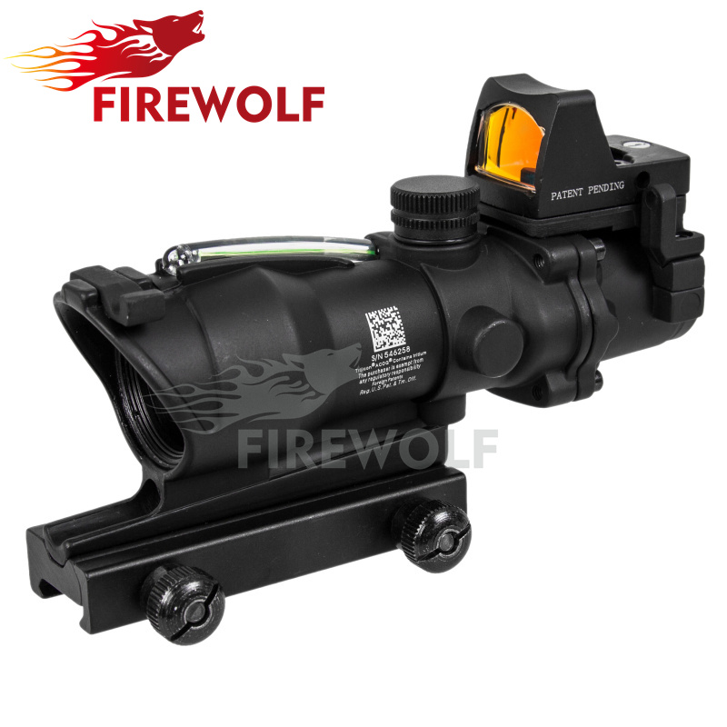 FIRE WOLF Tactical Acog Style 4x32 Red Dot Rifle Scope Green Optics Fiber And Red Dot Scope Hunting Tactical Rbo M9986