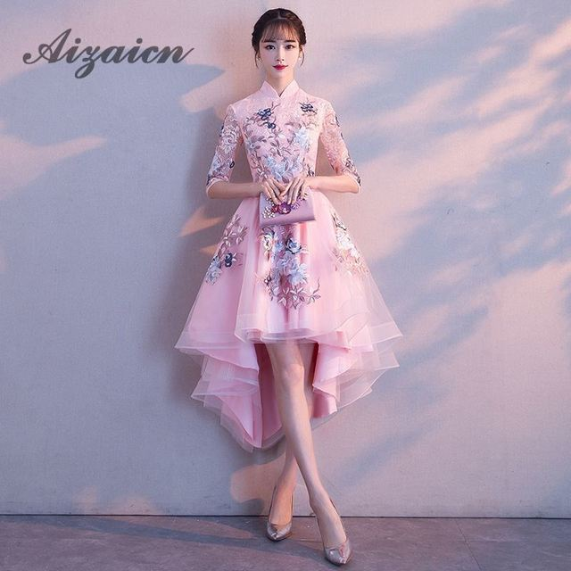 Before Short Chinese Evening Dress Elegant Summer Women Sexy Flowers 2018  Pink Princess Dresses Lace Cheongsam Oriental Collars c1376a0b125c
