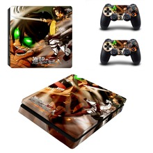 Anime Attack On Titan PS4 Slim Skin Sticker For Sony PlayStation 4 Console and Controllers Decal PS4 Slim Sticker Vinyl