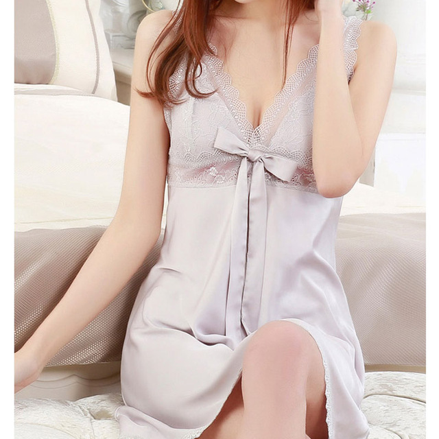 New Arriving Lingerie Women Silk Lace Robe Dress Babydoll Nightdress  Nightgown Sleepwear 6af107520