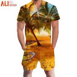 Alisister кокосовое дерево печати Гавайи комбинезоны мужские 3d короткий рукав комбинезон шаровары рабочая одежда Летний цельный купальник