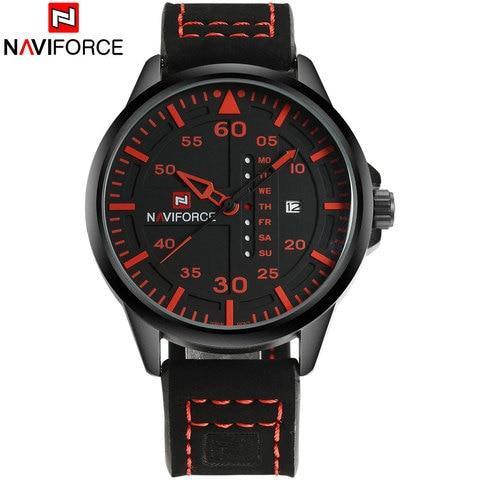 NAVIFORCE Fashion Sports Men Quartz Watches Leather Strap Luxury Brand Watches Man Red Dials 30M Waterproof Relogio Masculino Lahore