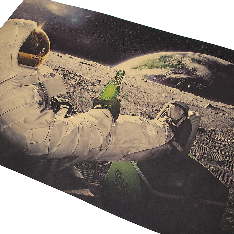 HTB187tGaUzrK1RjSspmq6AOdFXac Dlkklb Classic Outer Space Earth Astronauts Drink Relaxing Moon Landing Fantasy Kraft Paper Poster Home Decor Wall Sticker