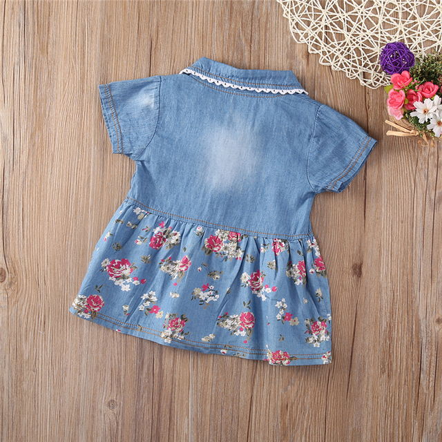Denim Dress For Girl Baby 2018 New Summer Flower Princess Dress Party Wedding Pageant Dresses Clothes 2