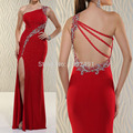 Fashionable Red Long Evening Dress 2016 One Shoulder Crystal Beaded Women Dress Prom Party Gowns Robe De Soiree