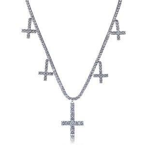 """Image 5 - アイスアウトczクロスペンダント & ネックレステニスチェーンジュエリーゴールドシルバーカラーの男性の女性のチャーム 18 """"22"""" ギフトのためのネックレス"""