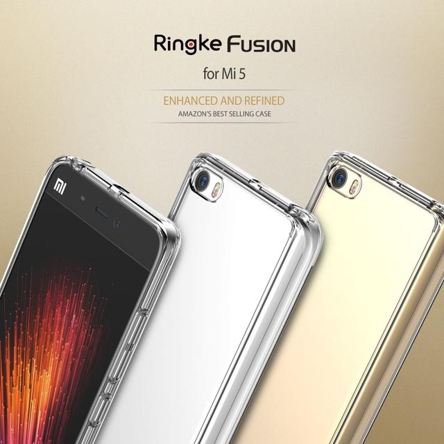 100% original ringke fusión caso crystal clear pc contraportada xiaomi mi5 y construido en el enchufe del polvo