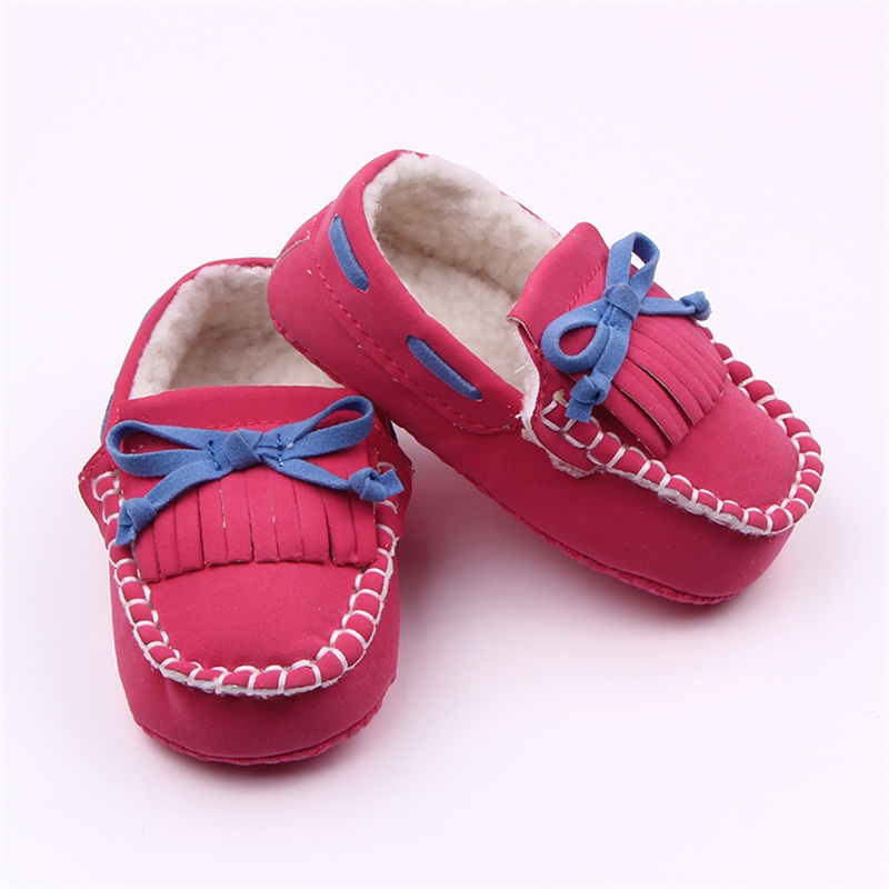 Simple Fringe Butterfly-knot Nubuck Leather Retro Style soft sole Shoes Baby Boy And Baby Girl Casual Shoes
