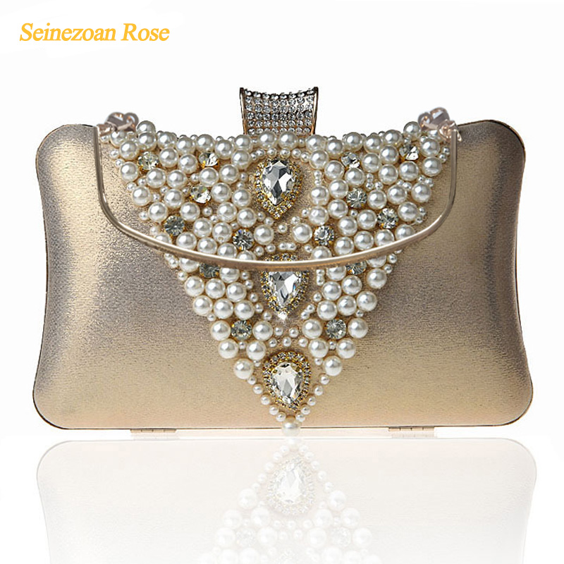 2016 Fashion Women Pearls Beads Rhinestone Totes Bags Evening Wedding Party Clutch Purses Wallets Mini Messenger Handbags
