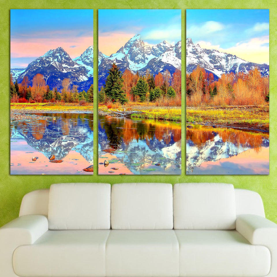 Direct Selling 3 Panels Canvas Art Snow Mountains Reflection Home Decor Unframed Wall Painting Prints Pictures For Living Room