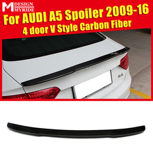 For Audi A5 A5Q High-quality Carbon Rear Spoiler V-Style Fiber Trunk Wing 4-Door car styling 2009-2016
