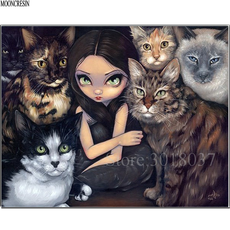 5D Diy Diamond Painting Cross Stitch Girl Different Cats Needlework Diamond Embroidery Full Round Mosaic Decoration Resin Kits in Diamond Painting Cross Stitch from Home Garden