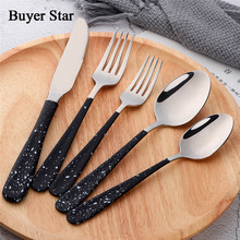 Buyer Star 20-Piece Silverware Cutlery Set Stainless Steel Flatware Dinner Service For 4 Knife/Fork/Spoon Mirror Polished