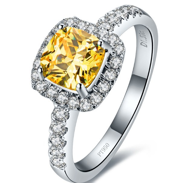 Super Star Love Best  Halo Style 2  Carat  Princess Cut Cushion Shape Yellow SONA Synthetic Diamonds Engagement Ring