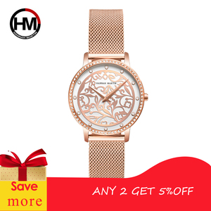 Image 2 - Women Rhinestones Watches Fashion White Flower 3D Engraving Dial Face Japan Movt Waterproof Top Luxury Brand Ladies Watches