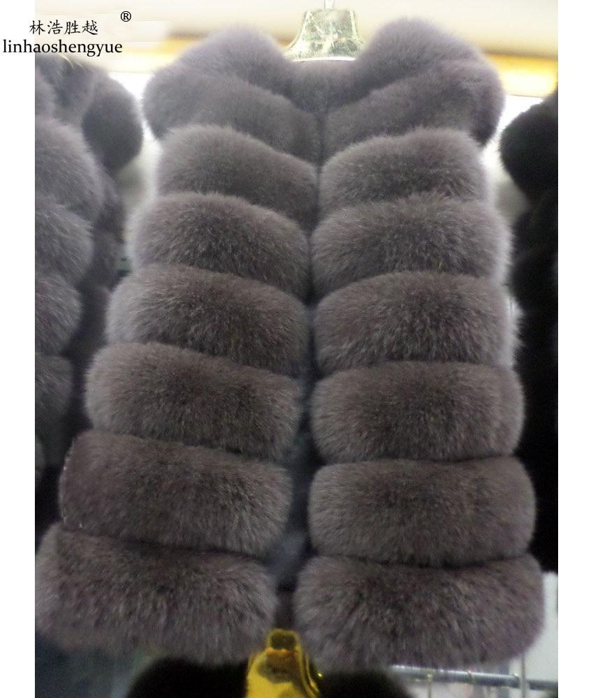 Linhaoshengyue 75 cm hosszú, valódi természetes szőrme mellénye - Női ruházat