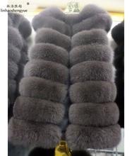 Linhaoshengyue 75 cm long side-by-side real natural fur vest the fox Real fox fur women vest
