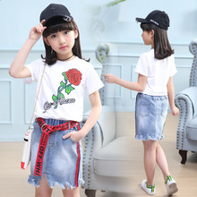 2019 Summer Casual Jean skirt Sets Shirt+ Jean skirt 2pcs set Clothing Kids overalls Suit For 5 6 10 Years girls clothes TTX74 new 2015 baby girls skirt clothing sets children autumn fashion long sleeve jean shirt leopard skirt outfits 2pcs suit
