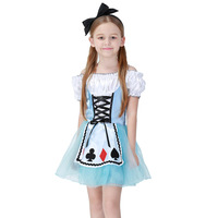 Girls Halloween Costumes Alice In Wonderland Dress Cosplay Stage Wear Cards Poker Maid Clothes Sets Kids