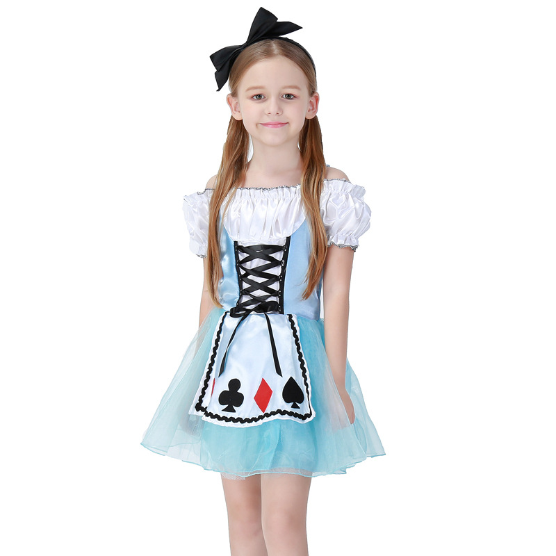 Girls Halloween Costumes Alice in Wonderland Dress Cosplay Stage Wear Cards Poker Maid Clothes Sets Kids Party Fancy Ball Cloth 4pcs gothic halloween artificial devil vampire teeth cosplay prop for fancy ball party show