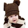 1pc Winter Warm Baby Hat Girls Boys Caps Children Dual Ball Knit Sweater Baby Cap Knitted -- MKE019 PT40